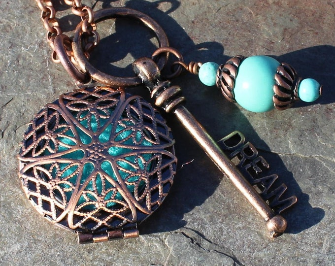 Featured listing image: Boho Chic Copper Aromatherapy Locket with Turquoise Magnesite Healing Crystals, Aromatherapy Necklace, Oil Locket, Aromatherapy Jewelry