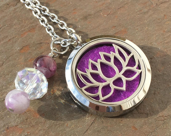 Featured listing image: Fancy Lotus Locket Stainless Steel Aromatherapy Locket with Amethyst Healing Crystals