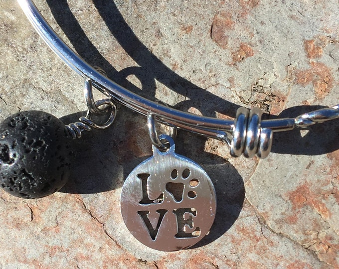 Featured listing image: Love Pawprint Stainless Steel Bangle Bracelet with Lava Bead Diffuser Pet Parent Gift Animal Lover Gift Aromatherapy Essential Oil Lover