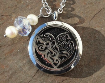 Scroll Heart Stainless Steel Aromatherapy Locket