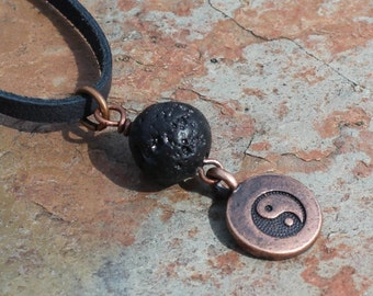Yin Yang Symbol Lava Bead Diffuser Necklace, Aromatherapy Pendant, Lava Bead Necklace, Yoga Jewelry, Aromatherapy Jewelry, Lava Jewelry