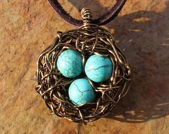 Robin Egg Bird Nest Necklace with Turquoise Blue Eggs, Expectant Mother Gift, Grandma Gift, Bird Nest Choker, Blue Bird Nest, Made in USA