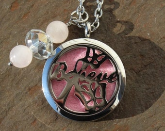 Believe Butterfly Awareness Ribbon Stainless Steel Aromatherapy Locket with Rose Quartz