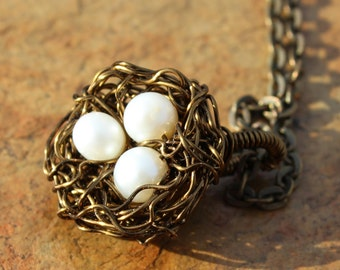 Bird Nest Necklace with Freshwater Pearl Eggs, Expectant Mother Gift, Grandmother Gift, Bird Nest Choker, Pearl Necklace, Made in USA