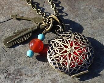 Wild Gypsy Aromatherapy Necklace with Healing Crystals, Aromatherapy Locket, Essential Oil Locket, Aromatherapy Jewelry, Nickel Free Chain
