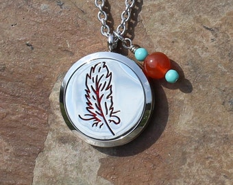 Bohemian Style Stainless Steel Aromatherapy Locket with Carnelian and Turquoise Magnesite Healing Crystals, Essential Oil Diffuser Necklace