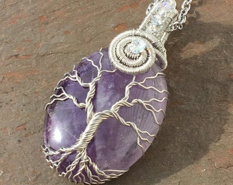 Amethyst Tree of Life Necklace with Swarovski Crystal and Czech Glass