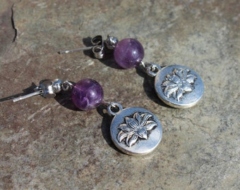 Lotus Flower Earrings with Genuine Amethyst on Surgical Stainless Steel Posts, Amethyst Earrings, Lotus Earrings, Gift Idea, Yoga Jewelry
