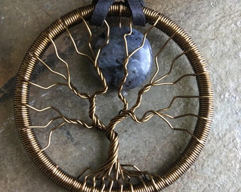 Labradorite Moon Tree of Life Necklace