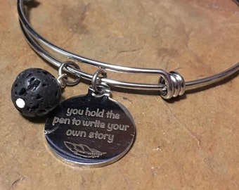 You Hold The Pen To Write Your Own Story Inspirational Stainless Steel Bangle Bracelet with Lava Bead Diffuser