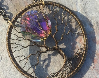 Tree of Life Statement Necklace with Northern Lights AB Crystal Moon