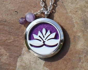 Stainless Steel Lotus Aromatherapy Locket with Amethyst Healing Crystals, Essential Oil Locket, Aromatherapy Jewelry, Stainless Steel Locket