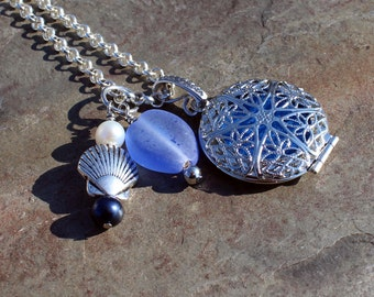 Nautical Aromatherapy Locket with Sea Glass and Freshwater Pearls, Aromatherapy Necklace, Essential Oil Locket, Aromatherapy Jewelry, Gift