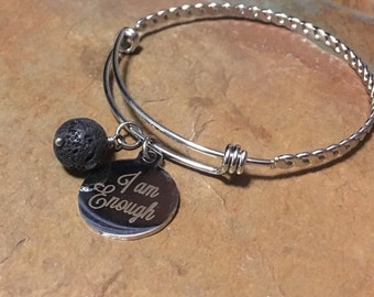 I Am Enough Stainless Steel Bangle with Lava Bead Essential Oil Diffuser