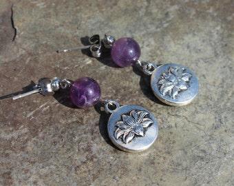 Lotus Flower Earrings with Genuine Amethyst on Surgical Stainless Steel Posts, Amethyst Earrings, Lotus Earrings, Gift Idea, Yoga Jewelry