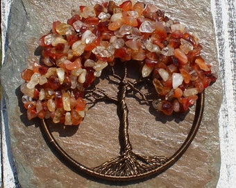 """Carnelian and Citrine Autumn Sugar Maple 4"""" Tree of Life Wall Hanging, Home Décor, Meditation Aid, Ready to Ship"""