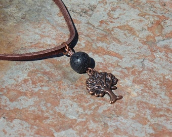 Earth Day Lava Bead Aromatherapy Pendant with Copper Tree of Life Charm, Diffuser Necklace, Essential Oil Diffuser, Aromatherapy Jewelry