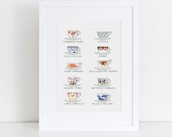 PATTERN: Ten tea cup china patterns pdf cross stitch chart - instant download