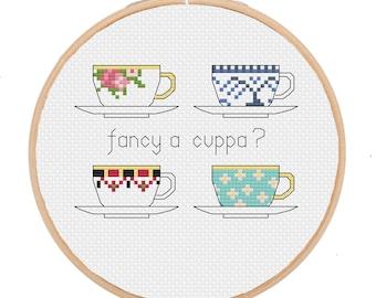 PATTERN: Fancy a cuppa? teacups --  pdf cross stitch chart - instant download