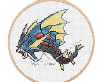 PATTERN: Mega Gyrados Pokemon - pdf chart - instant download