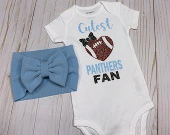 baby bodysuit gerber football cute baby shower gift new mom Cutest Panthers Fan baby onesie newborn infant NFL Carolina