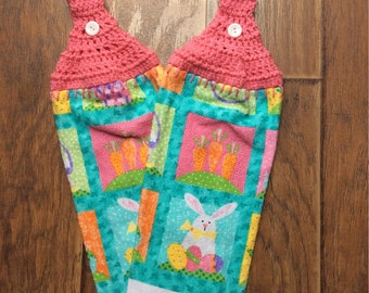 Spring/Easter Bunny Towel Set with Crochet Topper