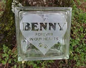 Pet memorial dog or cat personalized engraved quot NOT ETCHED quot carpenter glass block. Pet gravestone, pet remembrance gift,pet memorial.