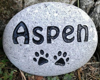 Pet memorial Personalized 3 to 4 inch dog or cat sandcarved small real river stone