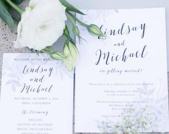 Grey Watercolor Wedding Invitation