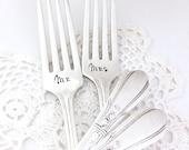 Ready to ship wedding forks - Custom hand stamped forks - Engagement forks - Engraved wedding cake forks - Cake cutting ceremony gift