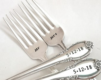 Wedding Dining Set Forks Gift Custom Flatware Personalized Kitchen Present Custom Initials Anniversary Engagement Silver Stainless Steel Date Names Bride Groom Mr Mrs
