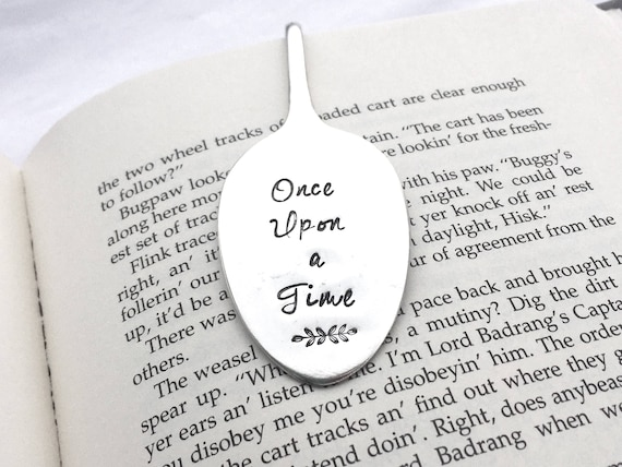 Once Upon a Time Bookmark, Vintage silver plate spoon bookmark, Flattened  spoon bookmark, Story Time gift, Bedtime Stories, Bookworm