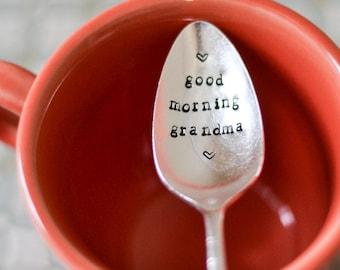 good morning grandma vintage hand stamped spoon - Engraved Coffee Spoon - Custom Silver Plated Spoon - Breakfast Spoon - Sugar Spoon