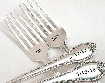 Custom wedding forks, vintage hand stamped forks, Engagement gift ideas, Bridal shower gift, Wedding date personalized forks, Cake cutting