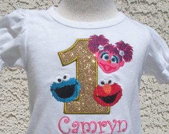 Sesame Street Elmo, Abby and Cookie Monster Gold Number Top, Custom Personalized Birthday Top