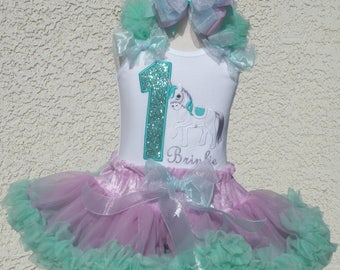 Unicorn Birthday Number Aqua and Lavender  Pettiskirt -Personalized Birthday Pettiskirt,Sizes 6m - 14/16