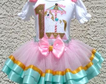 Golden Pony Carousel Pink Aqua Birthday Satin Ribbon Tutu-Personalized Birthday Tutu,Sizes 6m - 14/16