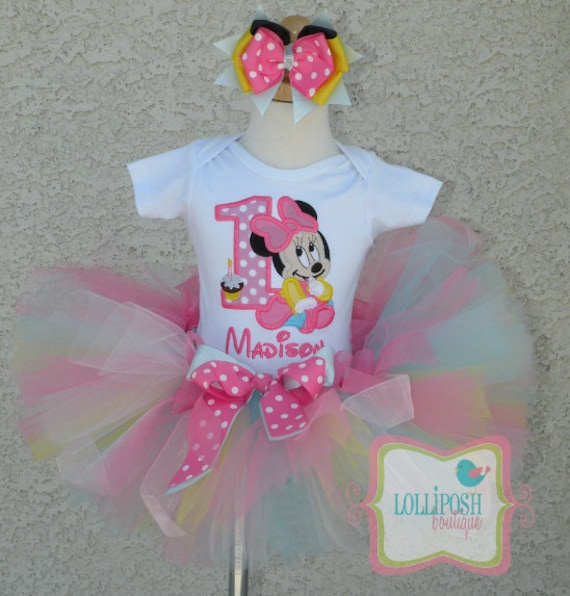 Baby Minnie Mouse Pastel Birthday Number Tutu Personalized Etsy