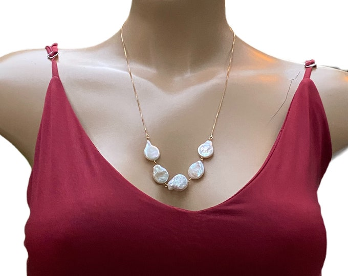 Fresh Water Pearls Coin Shape Necklace