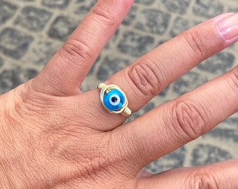 Blue Evil Eye Wired Wrapped Ring
