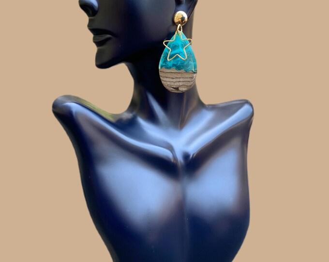 Gold Filled, Acrylic & Wood Beach Earrings
