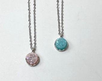 Handmade necklace, gemstone Necklace, druzy necklace, pink necklace, Crystal necklace, beaded necklace, unique gift, women jewelry