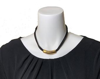 Multi strand necklace, Statement Necklace, Gemstone Necklace, Cord Necklace, Bib Necklace, Black Necklace, Gold Necklace