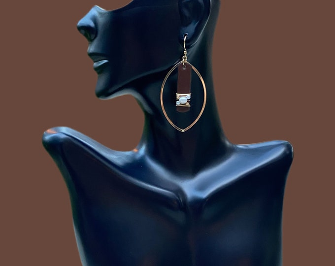 Leather & Pearls Gold Dangling Statement Earrings