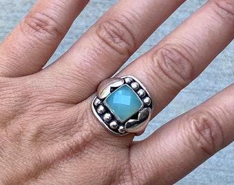Sterling Silver & Aquamarine Vintage Ring