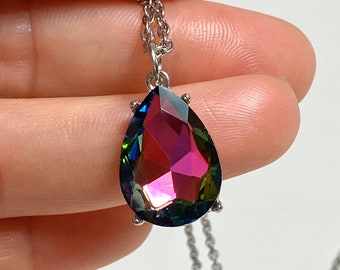 Crystal pendant Stainless Steel Necklace