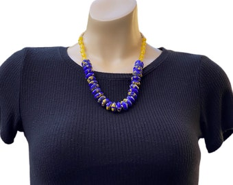 African Blue Ceramic Beads Necklace