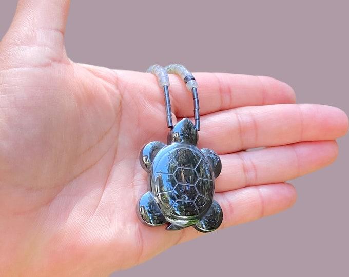 Hematite Turtle Gemstone Pendant Necklace