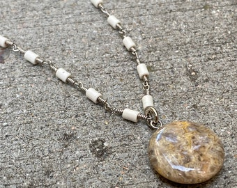 Howlite & Jasper Gemstone Pendant necklace, handmade and one of a kind gemstones necklace