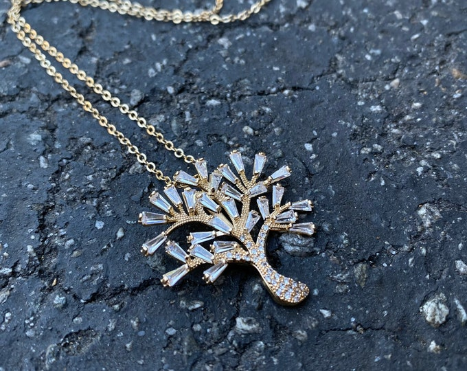 Zirconia Tree of Life Pendant Necklace